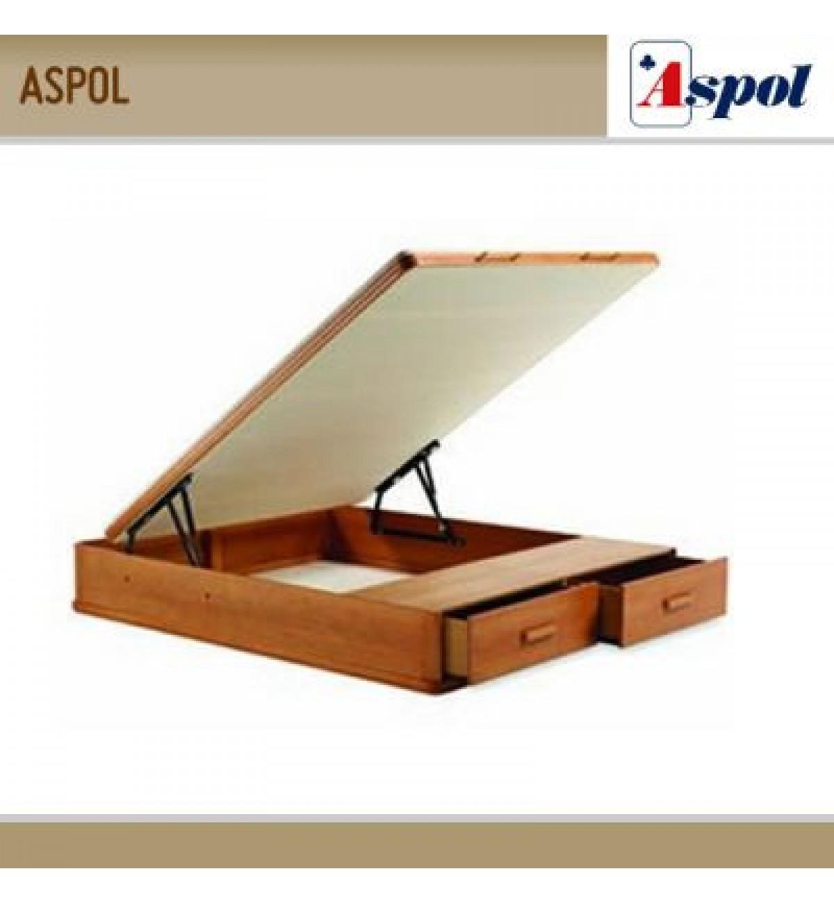 Canap aspol mixto madera tapa abatible y cajones en piecero for Camas de madera precios