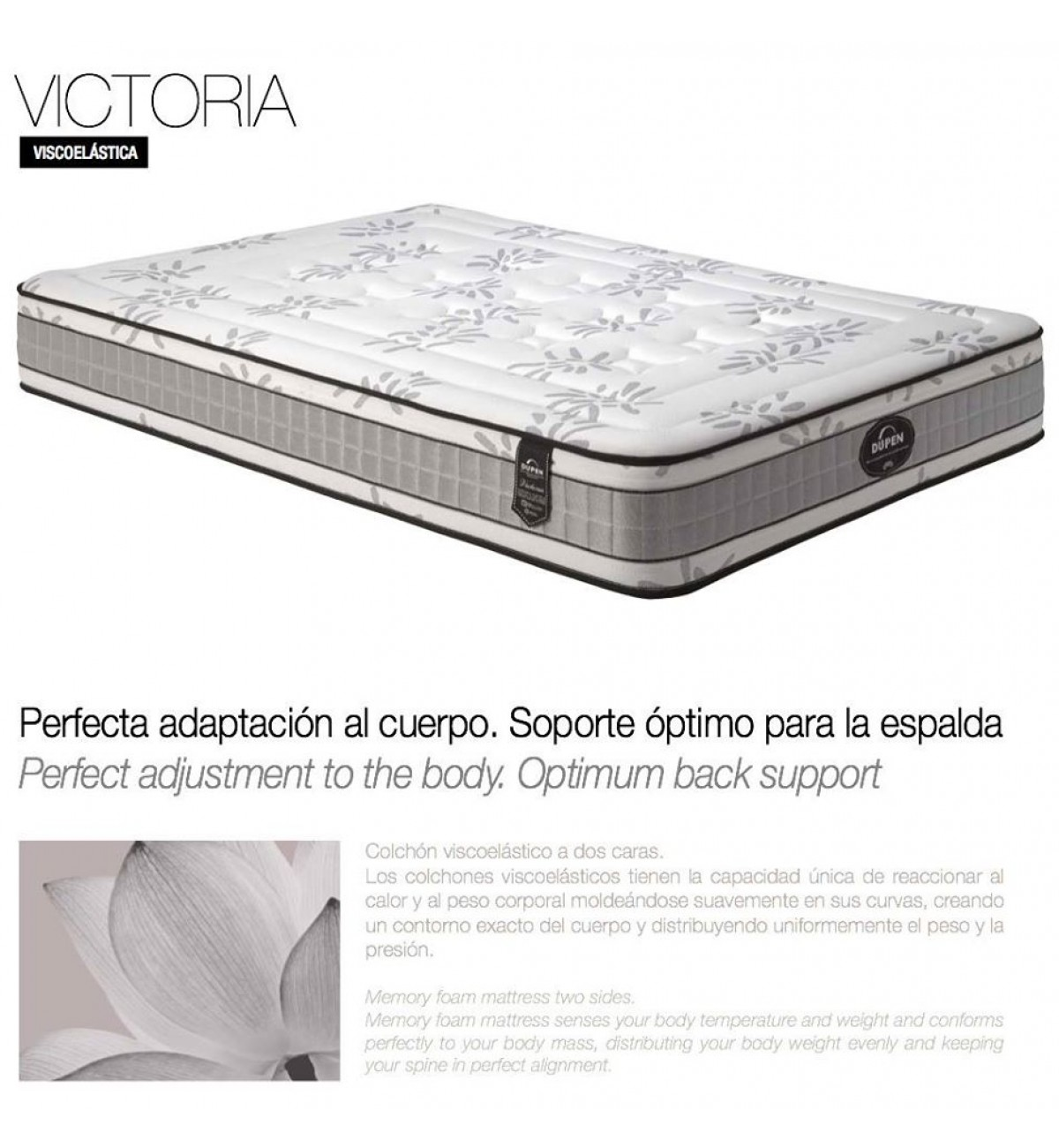 Colchón viscoelástico reversible VICTORIA de Dupen. Colchones online.